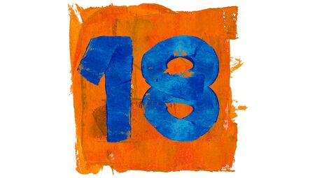 18: 18 day number of blue and orange paint colors Stock Photo