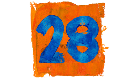 28: 28 number of blue and orange paint