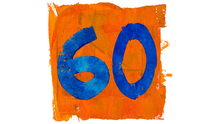 sixty: Sixty painted on blue in orange square Stock Photo