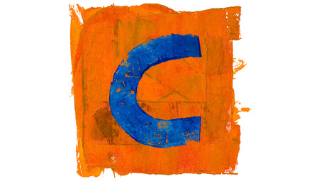 color in: C letter symbol of blue color in orange painted square