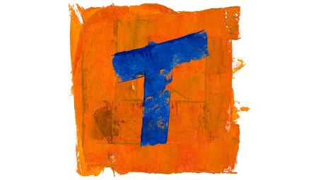 t square: T letter symbol of blue paint on orange square