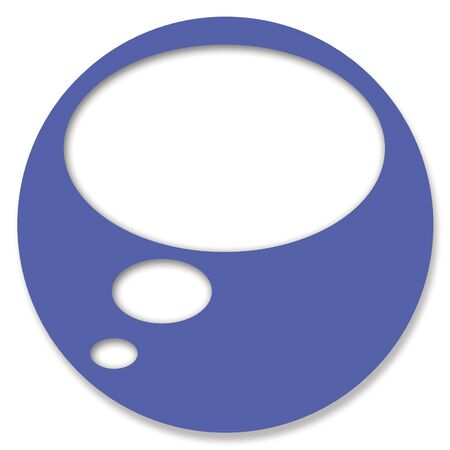 thinking cloud: Blue chat circular button with thinking cloud
