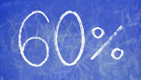 60: 60 percent on blue chalk board background Stock Photo