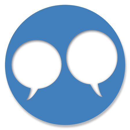 hole in one: Chat blue button circle with two talking bubbles Stock Photo