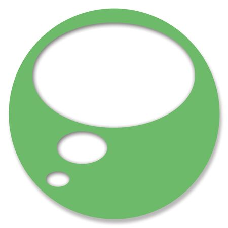 thinking bubble: Green circular chat button with thinking bubble balloon Stock Photo