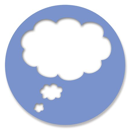 chats: Chat blue button circle with dream cloud Stock Photo