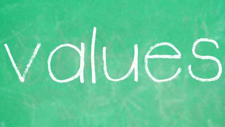 green chalkboard: Values on green chalkboard
