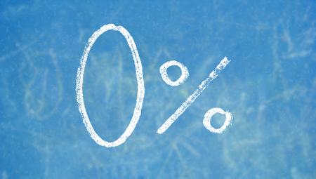 Zero percent weitten on blue chalkboard Stock Photo - 50289070