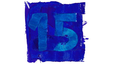 number 15: Number 15 of blue paint in a square for art calendar day