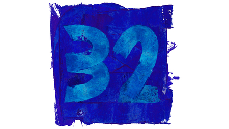 32: Number 32 painted with blue paint