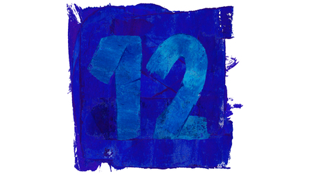 number 12: Number 12 of blue paint in a square for art calendar day
