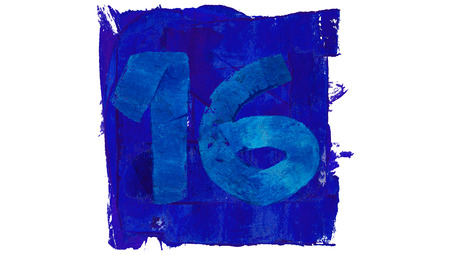 number 16: Number 16 of blue paint in a square Stock Photo