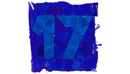 17: Number 17 of blue paint in a square Stock Photo