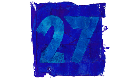 educative: Number 27 for art calendar day painted with blue paint