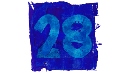28: Number 28 for calendar day painted with blue and artistic paintbrushes Stock Photo