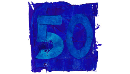 50 number: Number 50 of blue paint paintbrushes