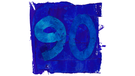 90: Number 90 of blue paint paintbrushes