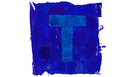 t square: Letter T symbol of blue paint in a square