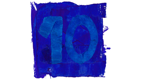 number 10: Number 10 on blue paint square