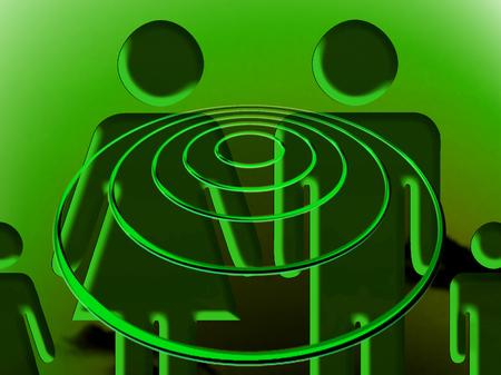trance: Family in hypnotic trance under green UFO night light
