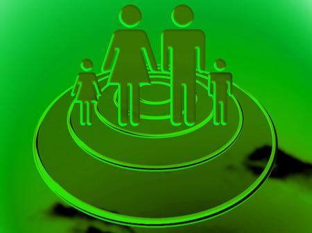 Family travelling on an UFO under green light Reklamní fotografie