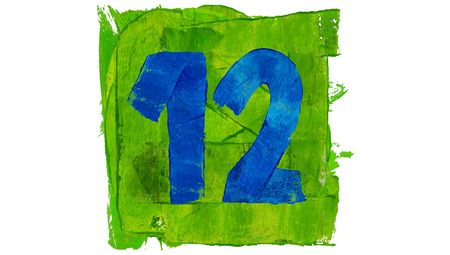 number 12: Number 12 painted with blue on green square of paint