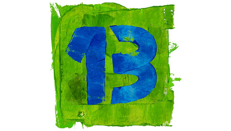 educative: Number 13 of good luck painted with blue paint on green square Stock Photo