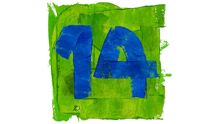 number 14: Number 14 of blue paintbrushes on green square Stock Photo