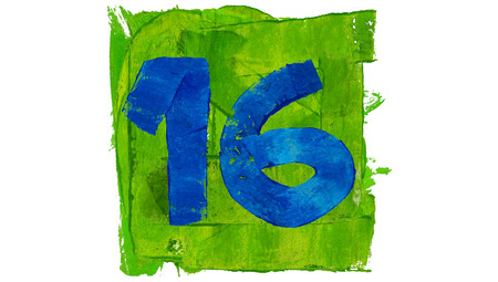 number 16: Number 16 painted with blue on green square of paint