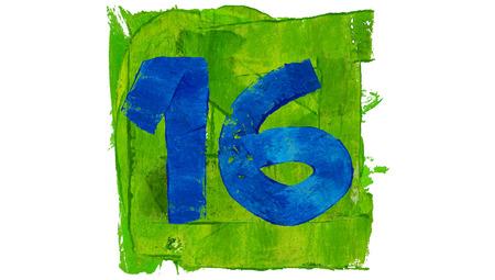 Nummer 16 geschilderd met blauw op groen plein van verf Stockfoto