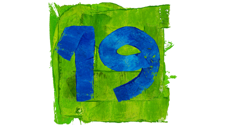 19: Number 19 painted with blue on green square of paint Stock Photo