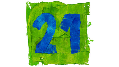 21: Number 21 painted with blue on green square of paint
