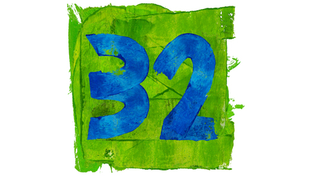 32: Number 32 of blue painting on green square Stock Photo