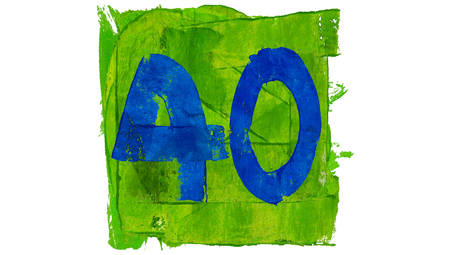 40: Number 40 painted with blue on green