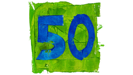 50 number: Number 50 painted with blue on green paint square shape Stock Photo