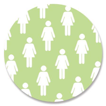 circle shape: Female white shape on green circle Stock Photo