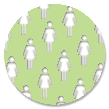 aligned: Women in green circle button background