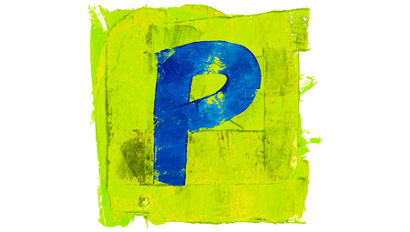 greenish blue: Letter P sign of blue paint on green square Stock Photo