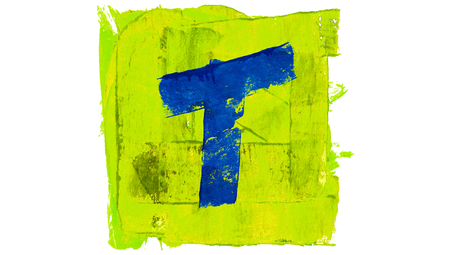 Letter T symbol of alphabet of painting colors