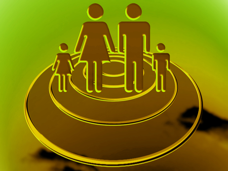Family travelling on circular UFO ship