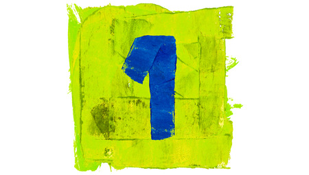 yellowish: Number one of blue paintbrushes on yellowish green square of paint