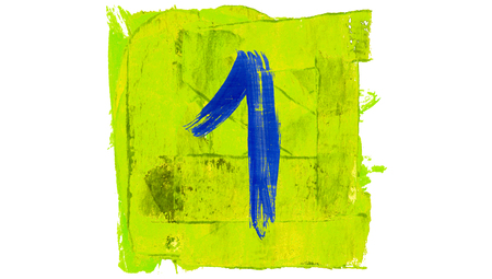 yellowish: One blue line on yellowish green paint color square