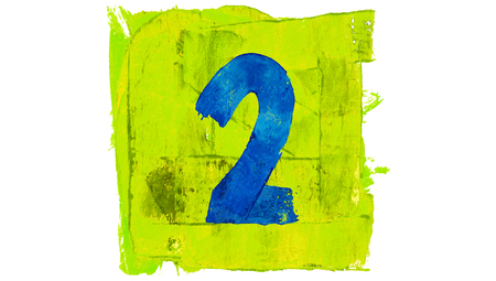 yellowish: Number 2 painted with blue on yellowish green square