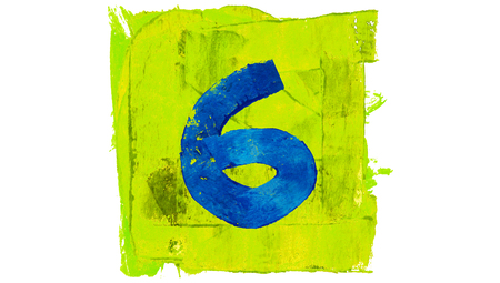 yellowish: Number 6 painted with blue on yellowish green square