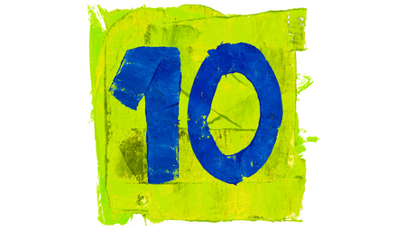number 10: Number 10 of art calendar day with blue and yellowish green colors of paint