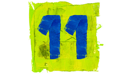 yellowish: Number 11 of blue paintbrushes on yellowish green square of paint