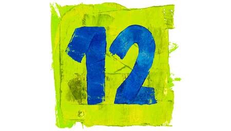 number 12: Number 12 painted with colourful paint Stock Photo