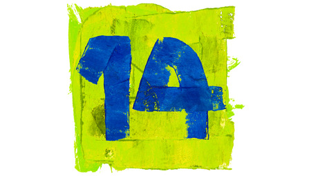 number 14: Number 14 of blue paintbrushes on yellowish green square of paint