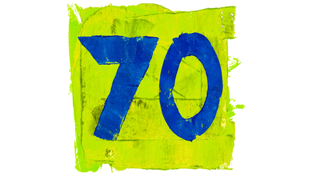 yellowish: Number 70 of blue paintbrushes on yellowish green square of paint Stock Photo