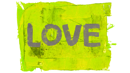 yellowish green: Love word of blue paintbrushes on yellowish green square of paint Stock Photo